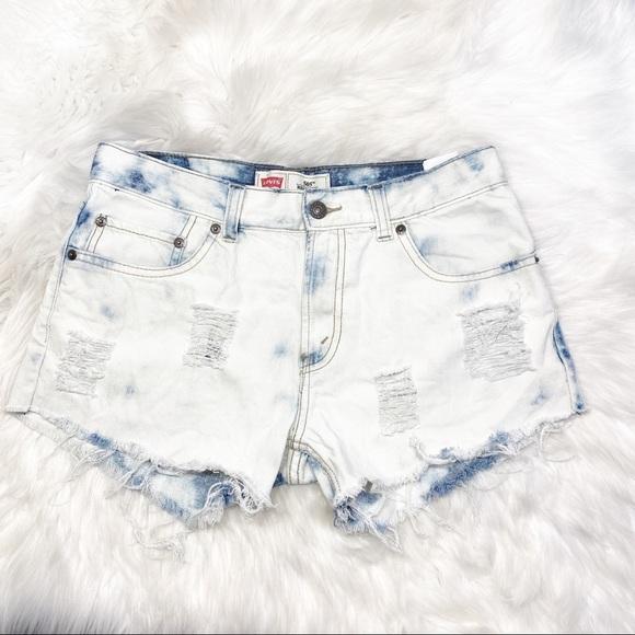Levi's Pants - Levi's 505 Denim Cut Off Jean Short Bleach Destroy